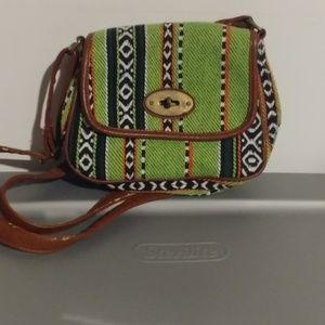 Handbags - Tribal print green small crossbody bag